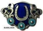 Horseshoe and Stones Belt Buckle + display stand. Code FJ7